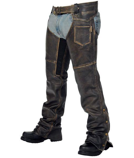 Milwaukee Motorcycle Clothing Crazy Horse Unisex Chap Distressed Black, Medium