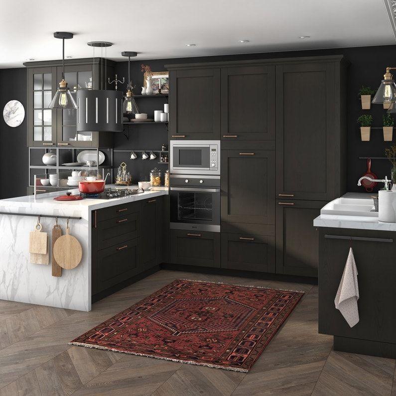 Cuisine Authentique Noire Et Marbre Leroy Merlin En 2020 Porte Cuisine Cuisines Maison Cuisine