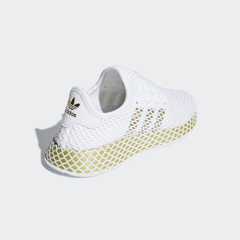 Details about Adidas Deerupt Runner Womens Shoes Footwear WhiteGold MetallicWhite CG6087