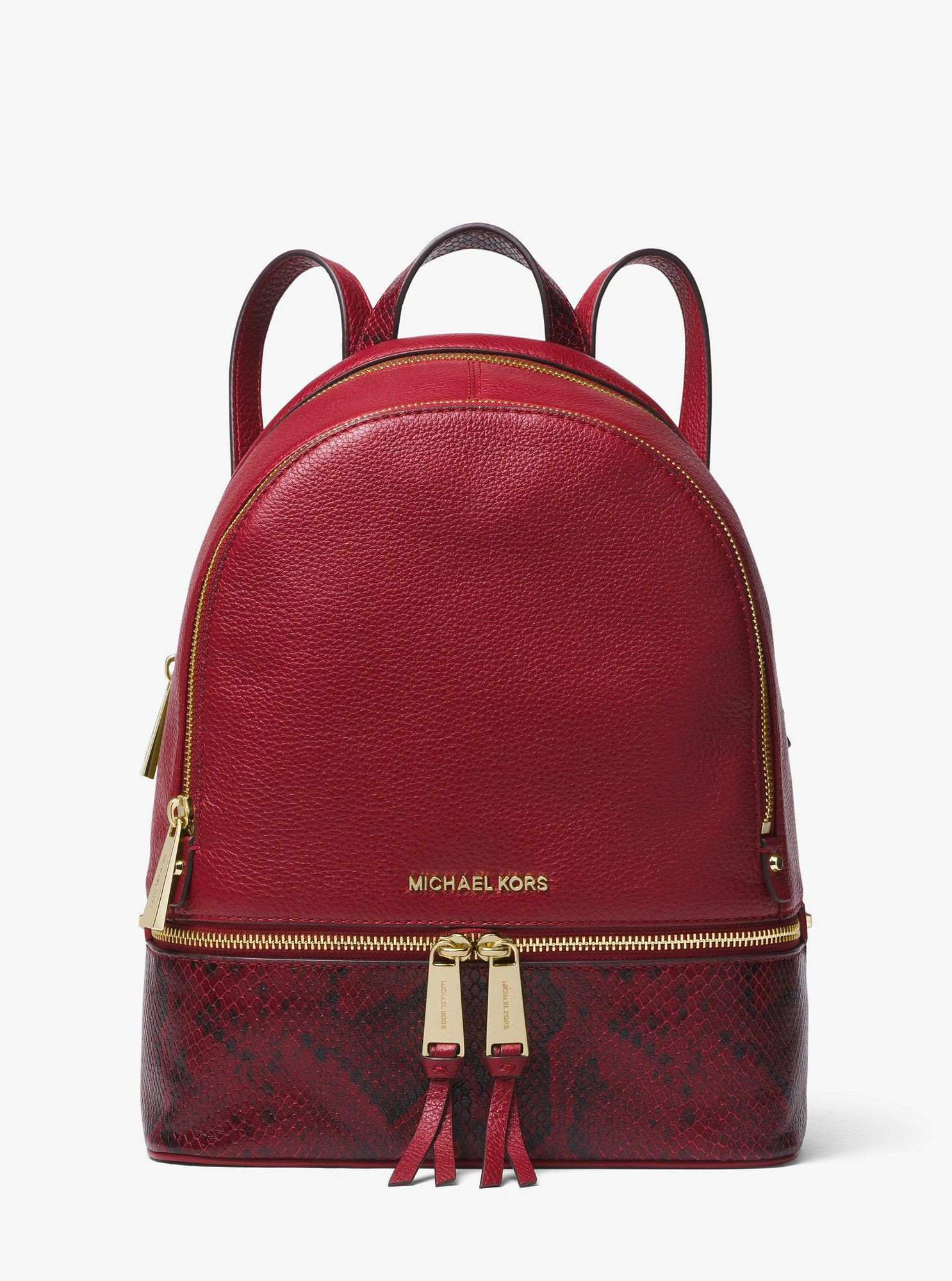 f690101f005a Michael Kors Rhea Medium Pebbled And Snake-Embossed Leather Backpack -  Maroon