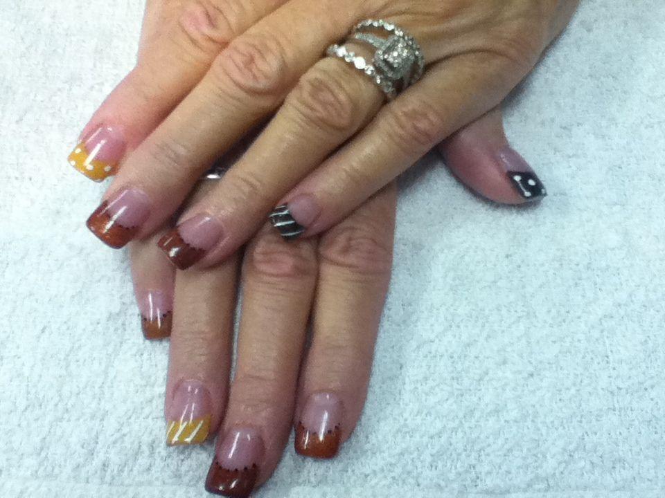 Acrylic fall colors on the natural nail. | Shidale Nails ...