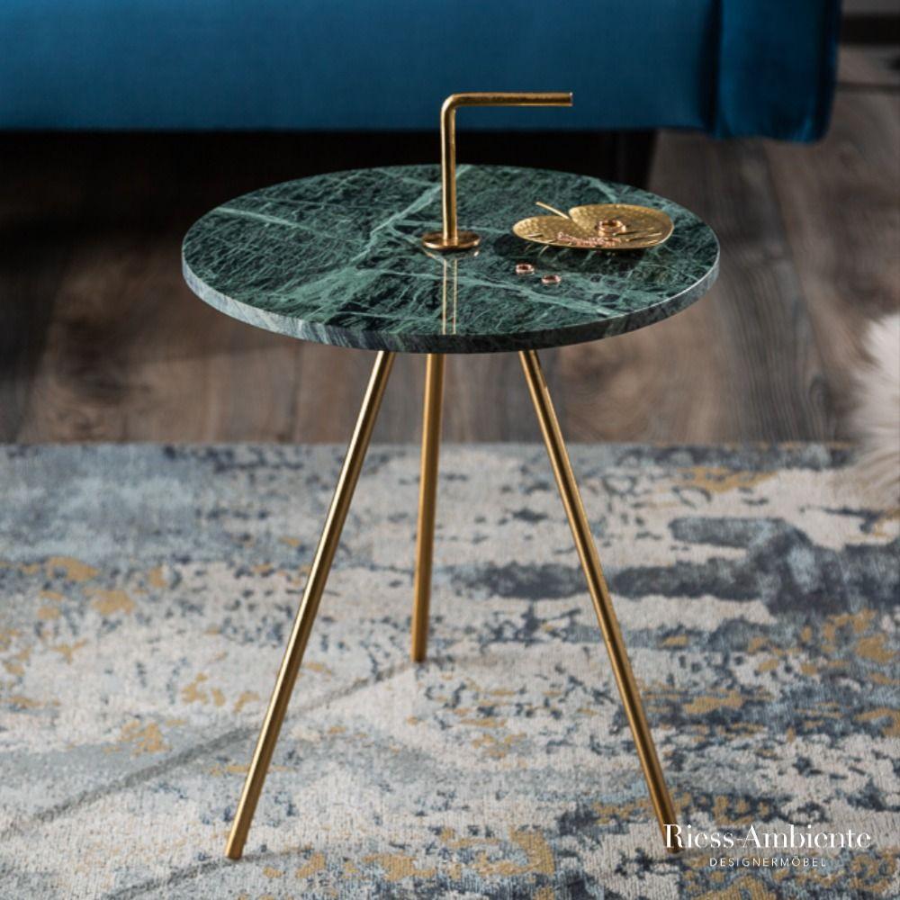 Beistelltisch Simply Clever 36cm Grün Gold Marmor Marmortisch Tischplatte Rund Beistelltisch