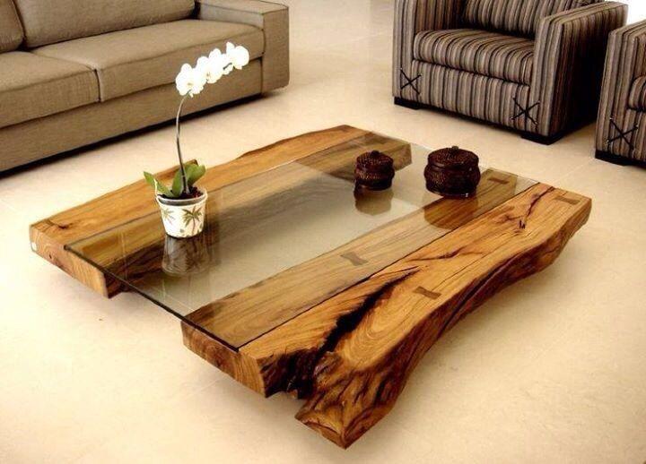Un mesa baja de centro con dos troncos de rbol mesas - Mesas de troncos de madera ...