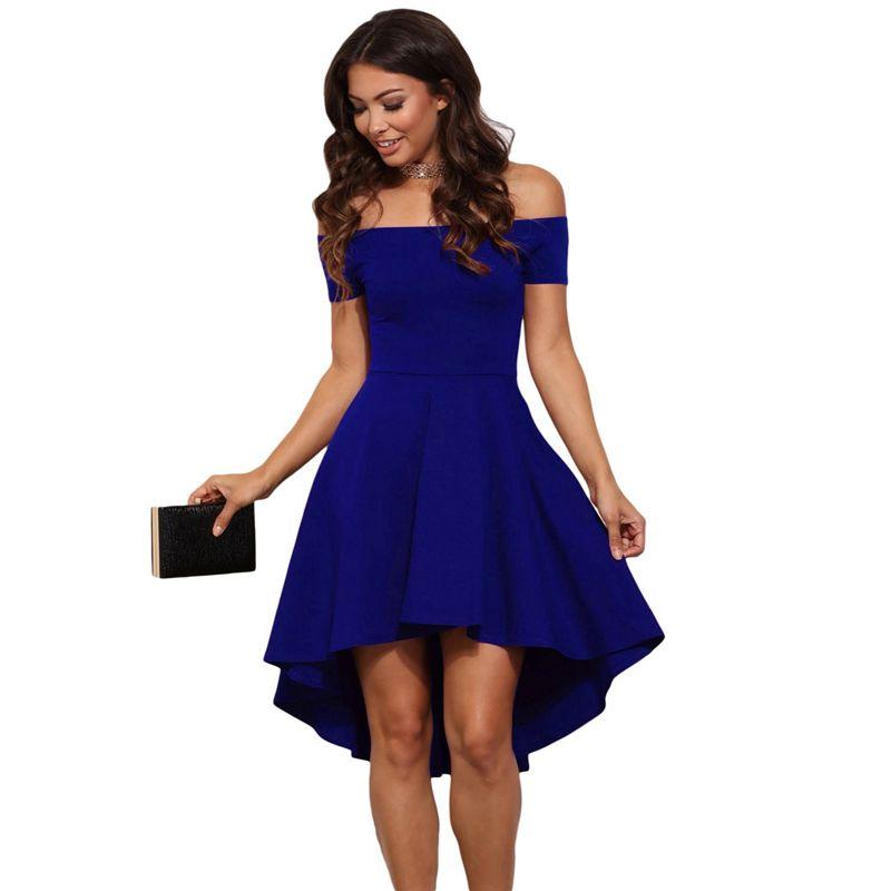 Mujeres Borgoña Azul princesa vestidos de 2018 Nuevo verano Fuera ...
