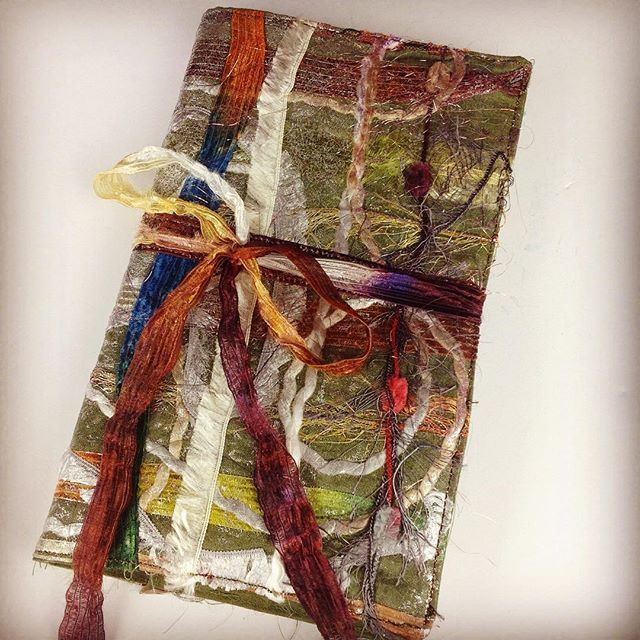 Ended up making a fabric journal cover with the fabric collage. #fiberart #crafts #craft #fabricjournal #fabricjournals