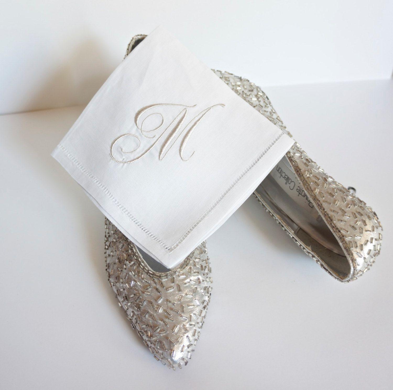 100% Linen Handkerchief, Personalized Handkerchief,  Bridal Handkerchief, Wedding Monogrammed Handkerchief, Hemstitched Edge