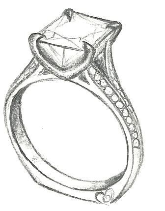 Mark Schneider Design sketch of Je Taime engagement ring design