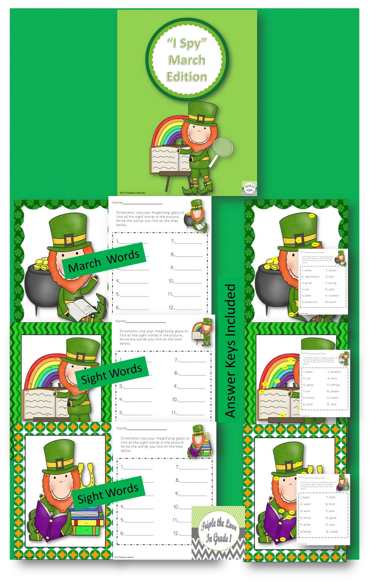 Look And Find March Edition March Words Amp Sight Words