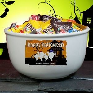 Personalized Halloween Ghost Family Ceramic Candy Give Out Bowl