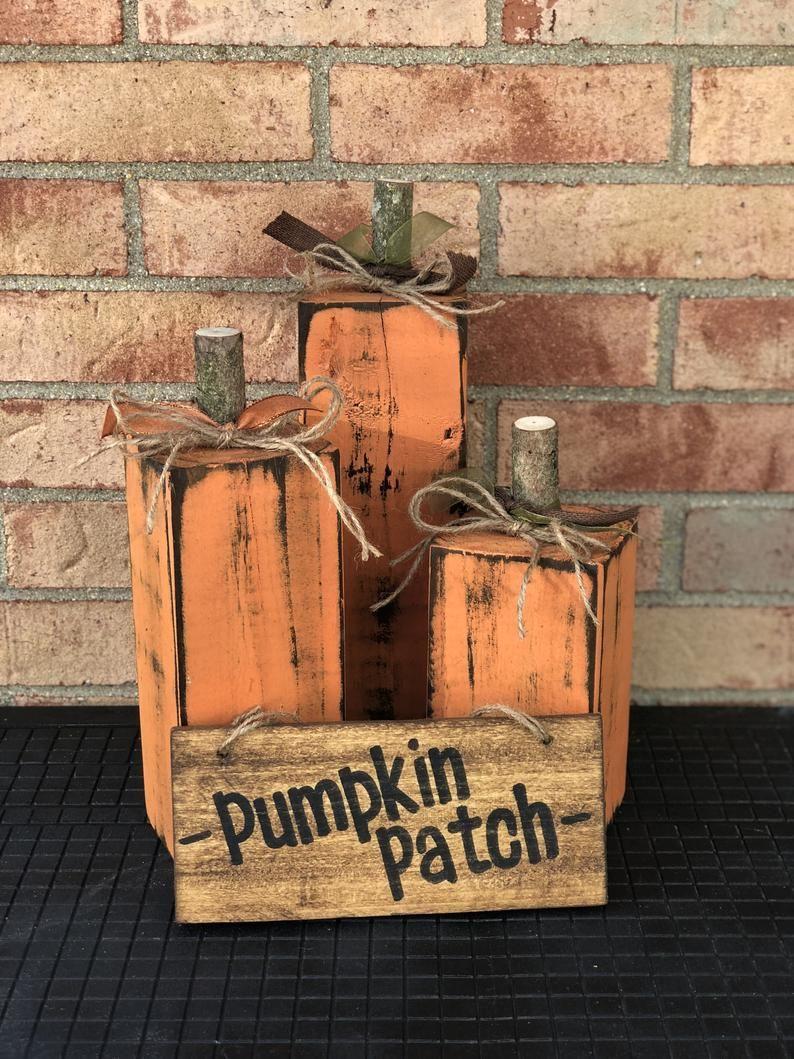 Wood Pumpkins- Fall Porch Decor (Set of 3)- 4x4 Pumpkins- Thanksgiving Decorations- Halloween Decorations #diyfalldecor