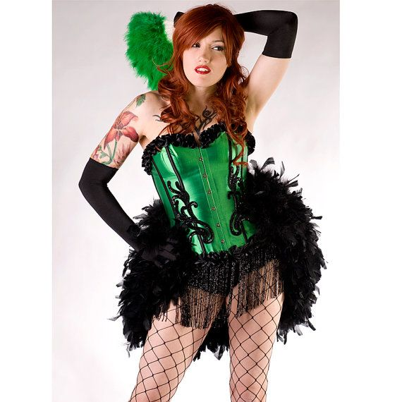 2b8b63dc23f46 Emerald Green Las Vegas Show Girl Burlesque Feather Corset Sexy Adult Women s  Costume Plus Fishnets Ruffle Panty Gloves for  185.00  halloween