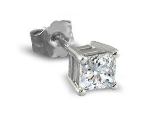 White gold finish Princess cut created diamond 5mm stud earrings