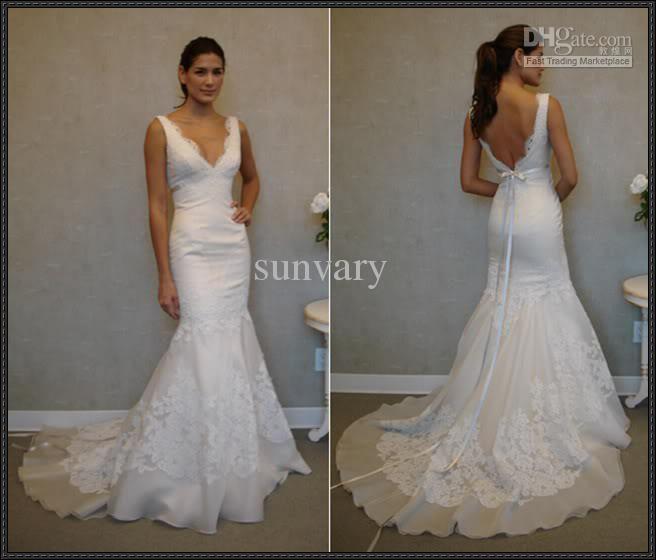 Wholesale - White Mermaid Bridal Gowns Trumpet Wedding Dresses Low Cut  V-neckline Ribbon Detailed Back Open 64b10888600d