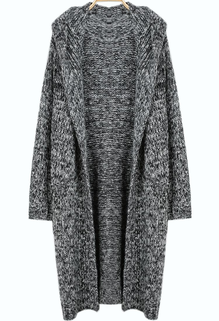 SALE Grey Hooded Long Sleeve Knit Cardigan Shop the #SALE at ...