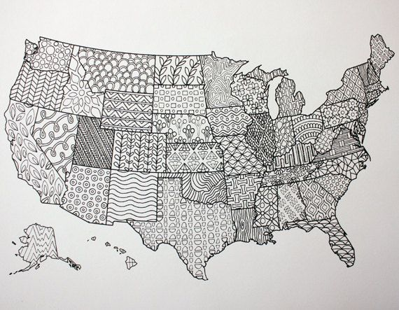 Printable Coloring Page United States Map Adult Coloring