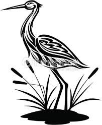 Grulla Heron Art Heron Tattoo Bird Stencil