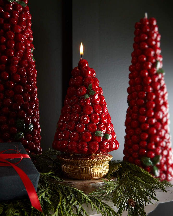 Red Berries Candle in Gold Basket in 2018 Let it be Christmas