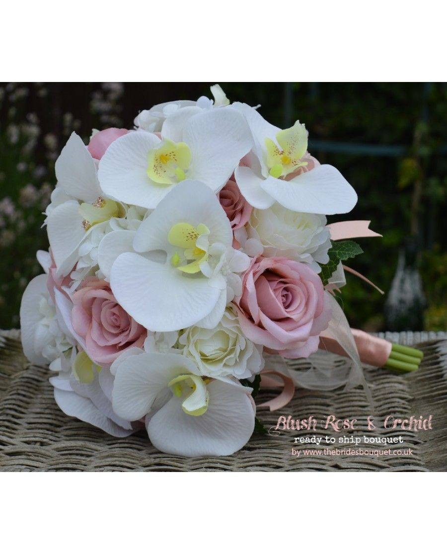 Blush Rose Orchid Ready To Ship Brides Bouquet Of Silk Flowers