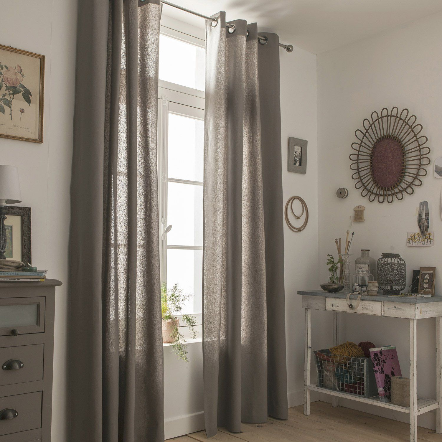 Rideau Tamisant Metis Taupe L 135 X H 260 Cm Rideaux Idee Chambre Idee Deco Maison