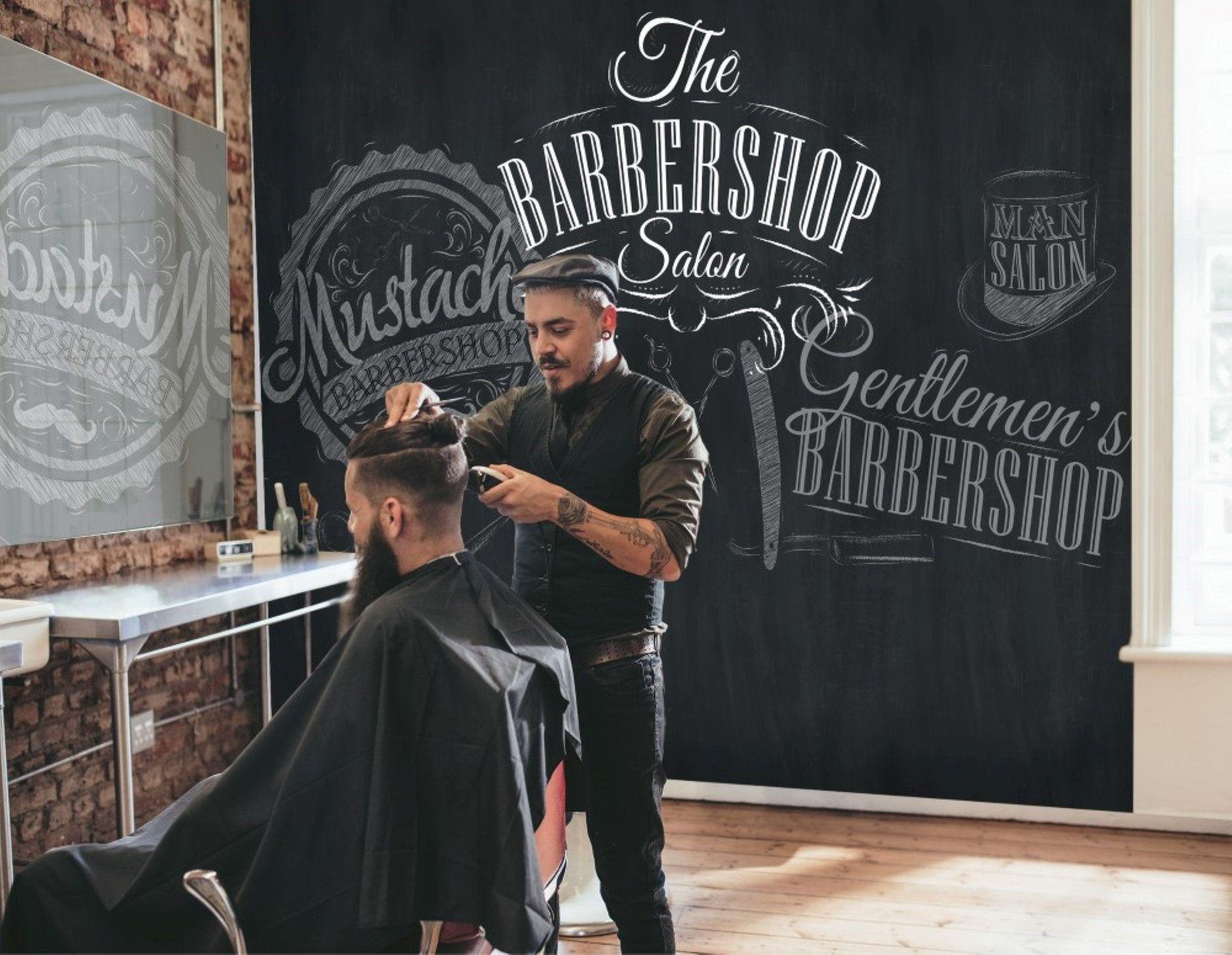 Barbershop Wallpaper Black Background Etsy Barber Shop Shop Wallpaper Black Backgrounds