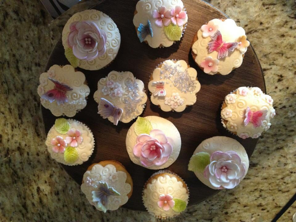 Flower butterflies cupcakes with images homemade