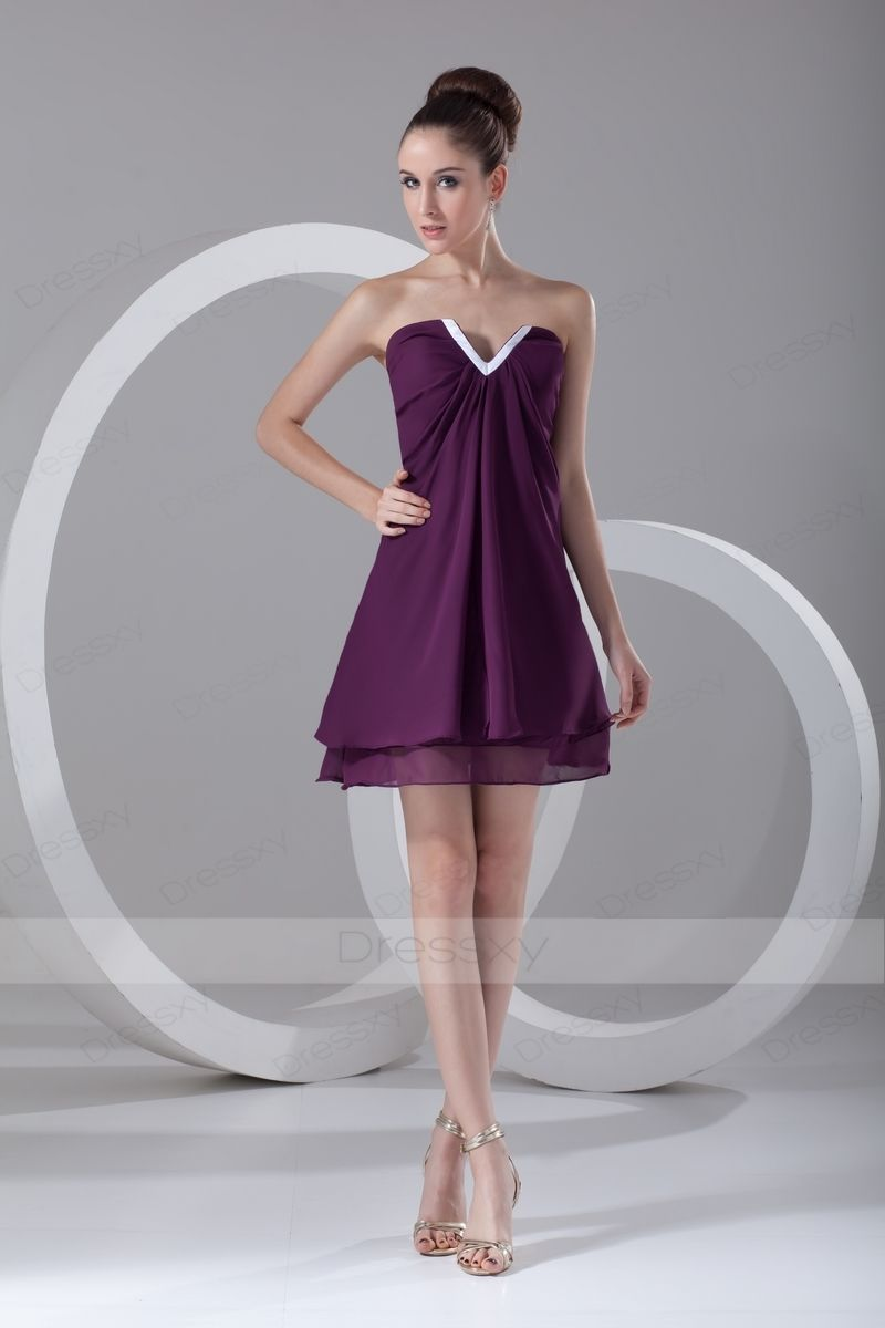 Aline short mini empire vneck chiffon prom dresses