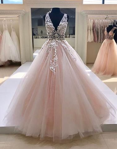 Pink tulle V neck long formal prom dress, pink lace evening dress from Sweetheart Dress
