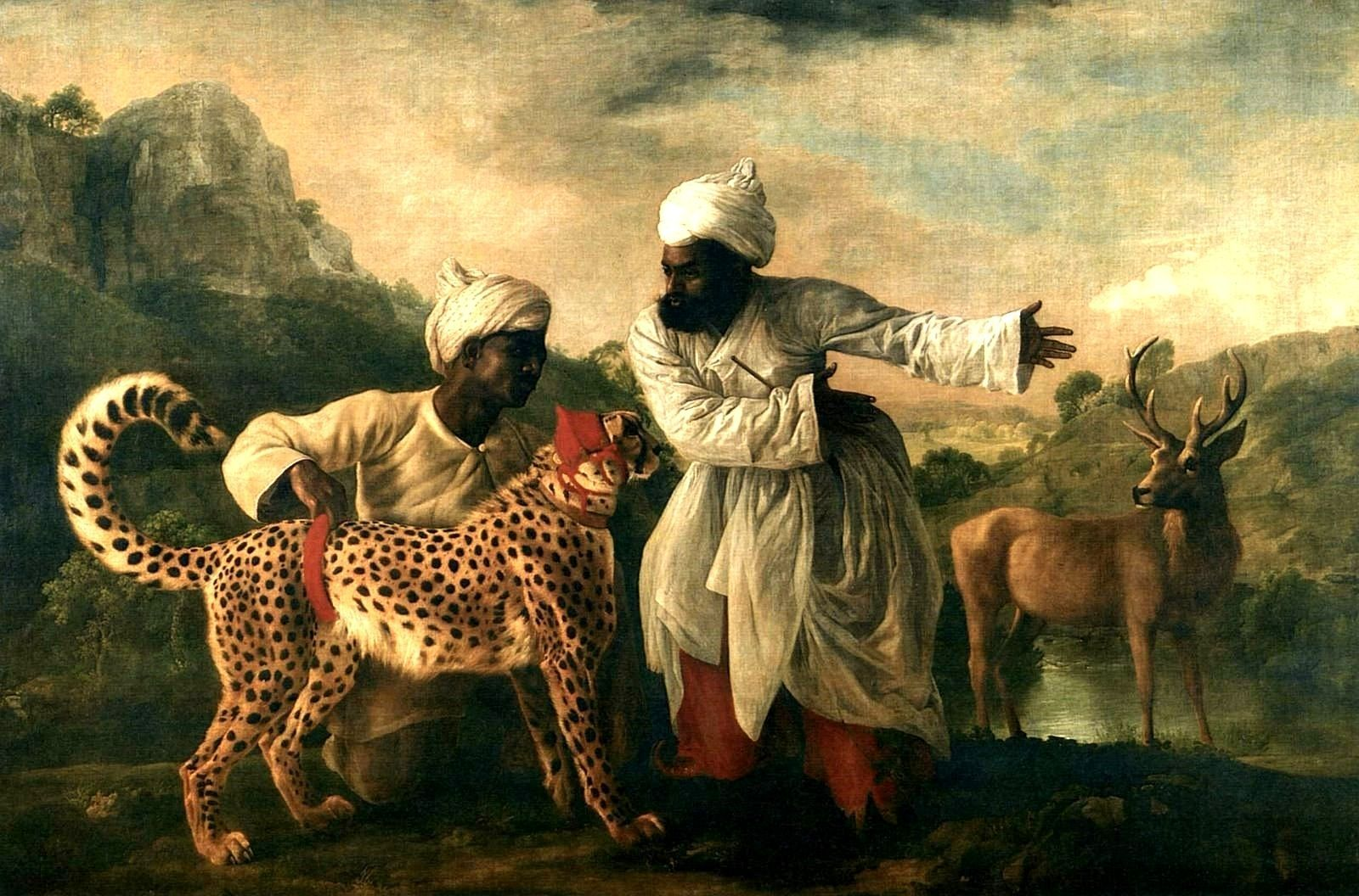 a cheetah with two indian attendants and a stag, george stubbs | art