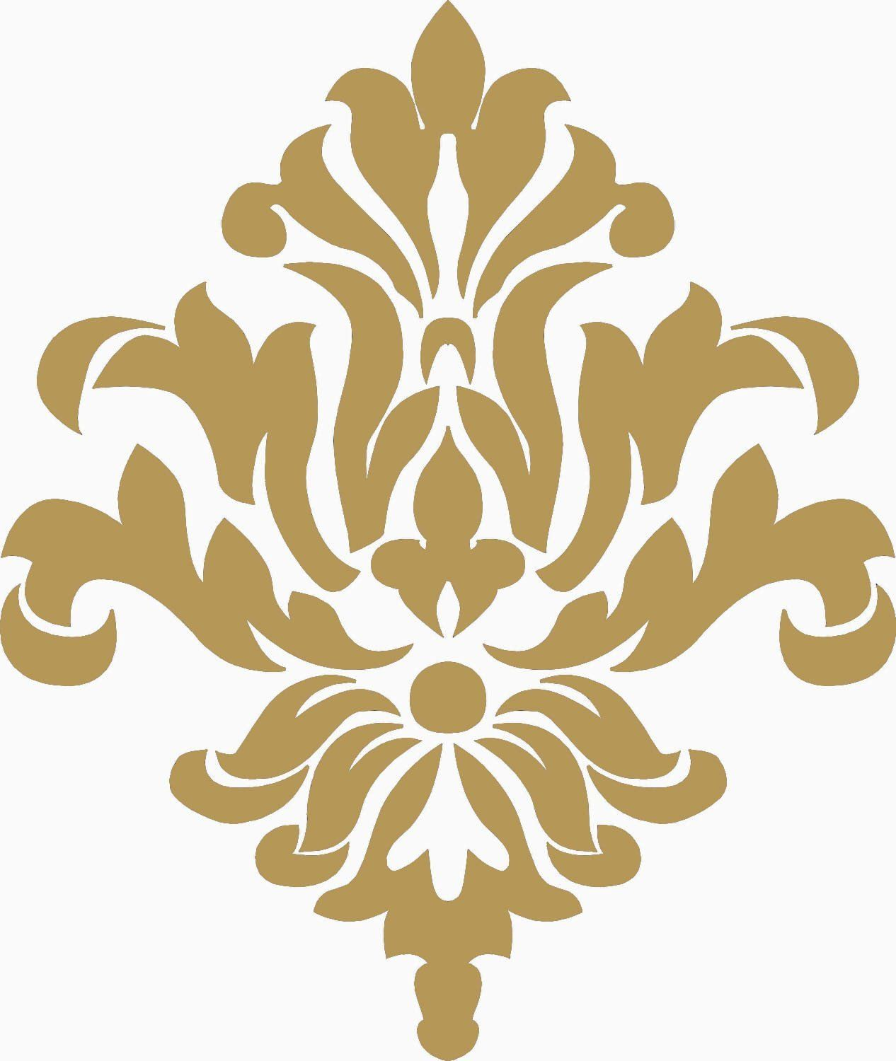 Amazon.com: Damask Pattern Wall Home Decor Decal Stickers (18, Gold ...