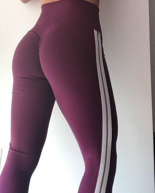 Women Fitness Leggings High Waist Side Stripe Leggings Women Solid Wrinkle Women Trousers Women'S Clothing S-L Wine XL #stripedleggings