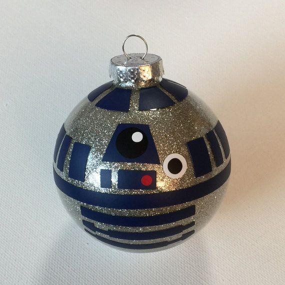 "Star Wars R2D2 Christmas Glitter Ornament 3.25"" Glass Ball"