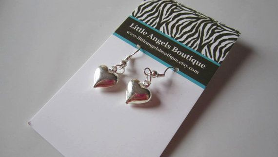 Puffy Heart Earrings by littleangelsboutique on Etsy, $5.00