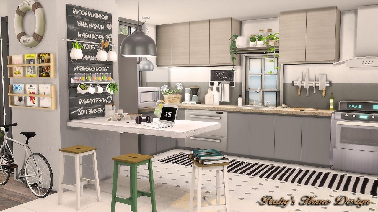 Ruby Red Simblr Sims4 Scandinavian Retreat Download And More Sims 4 Kitchen Sims 4 Sims House