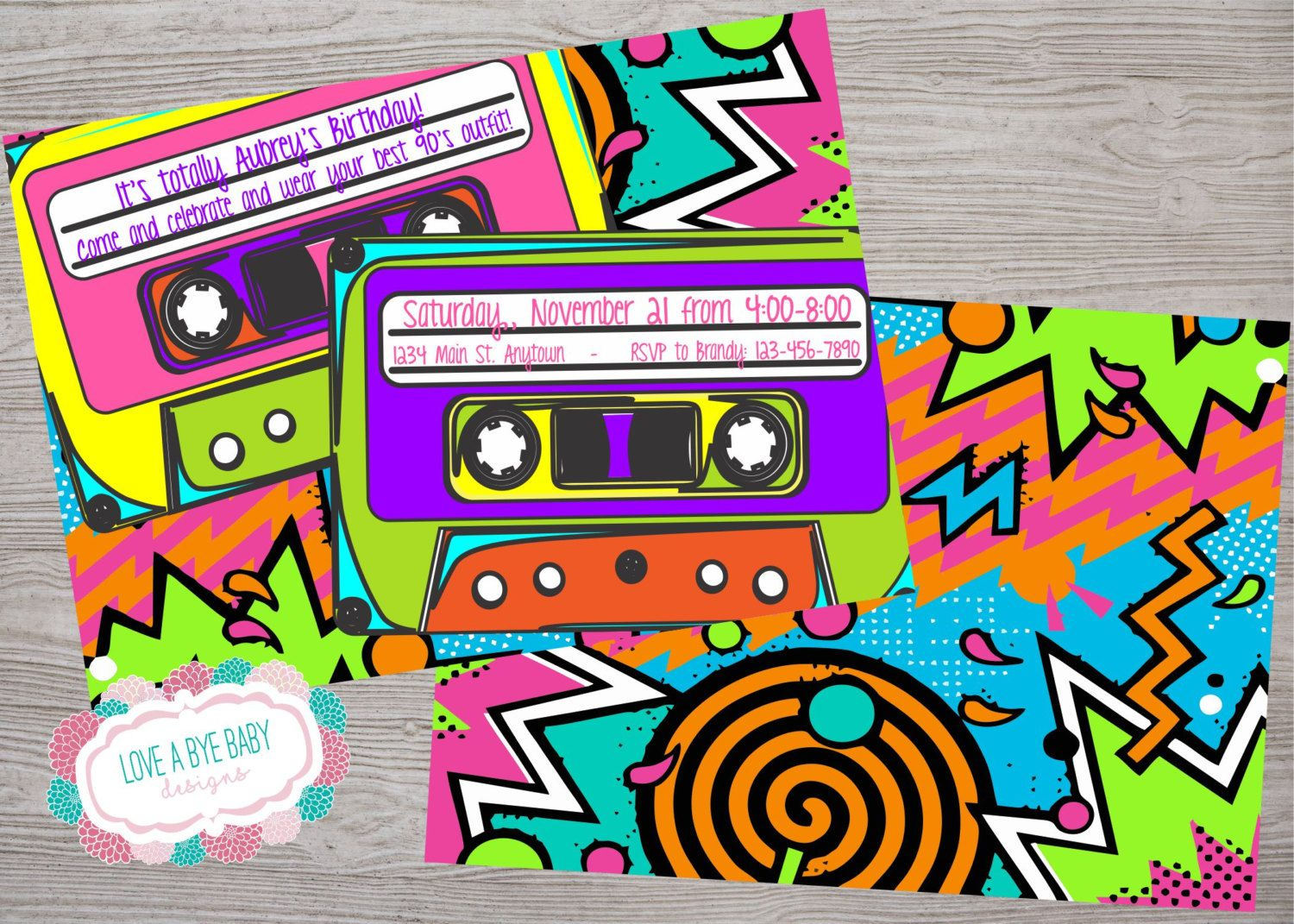 90s or 80s theme birthday baby shower party invitation. printable ...