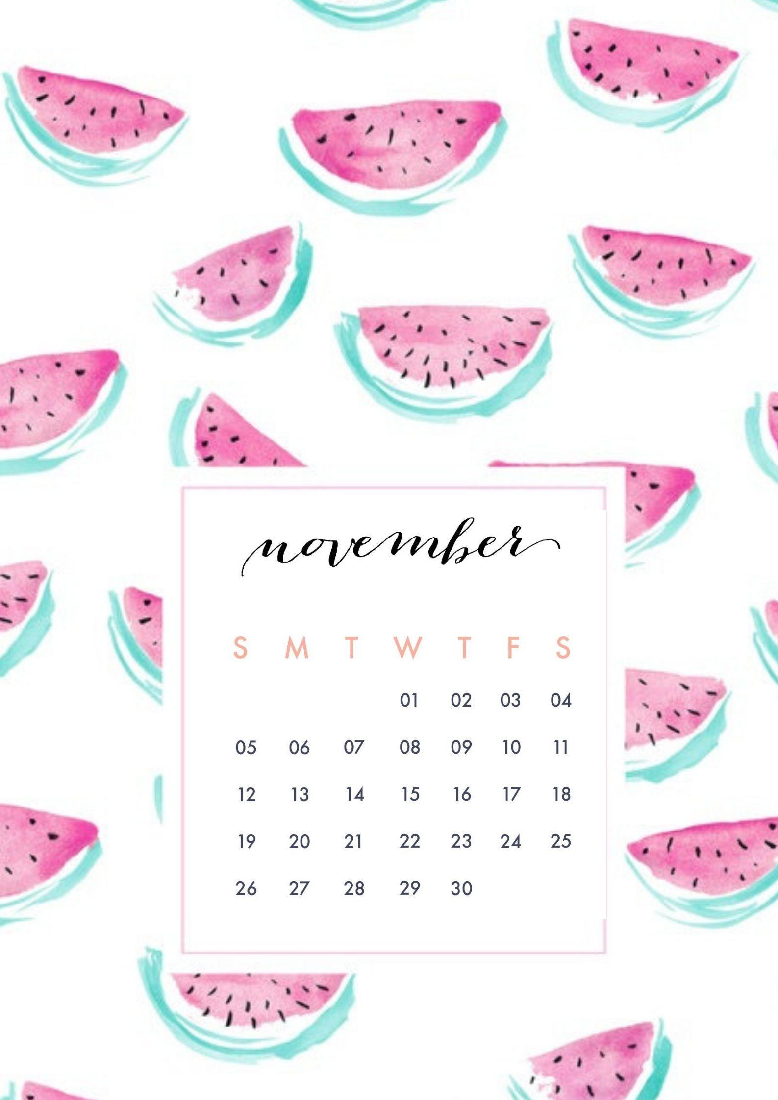 November 2018 Mobile Screensaver, Homescreen Calendars
