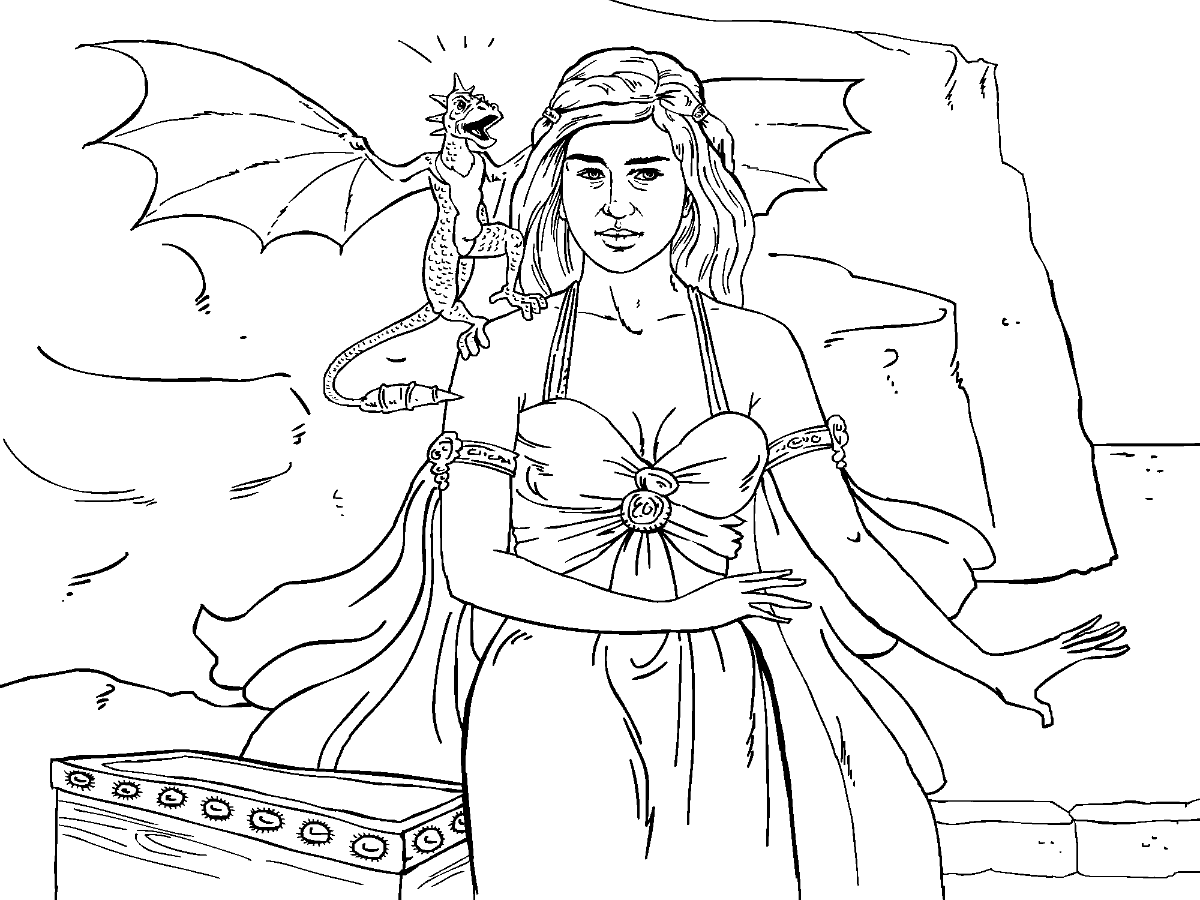 Colouring in pages games - Game Of Thrones Colouring In Page Danaerys