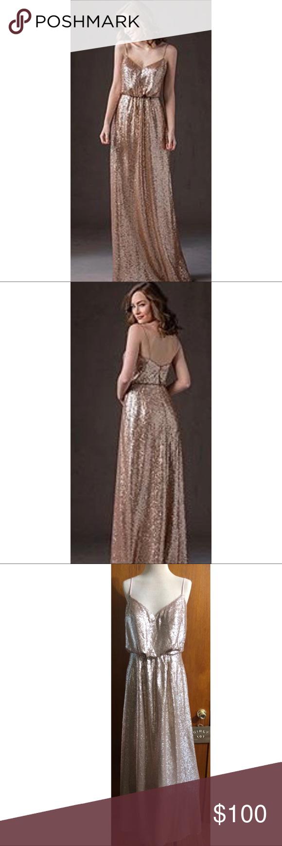 Belsoie sequin rose gold long dress brides made my posh closet