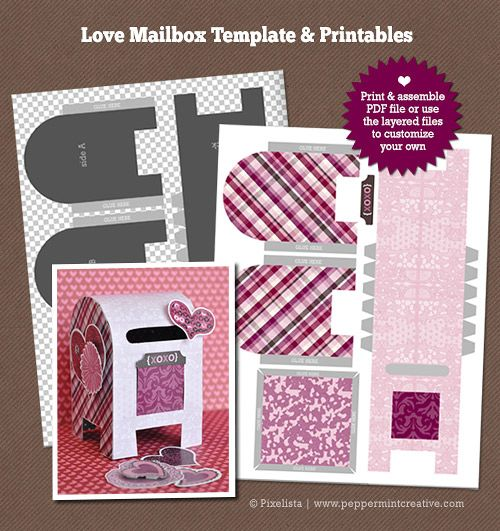Diy Printable Love Letter Mailbox  Paper Box End Paper Cut