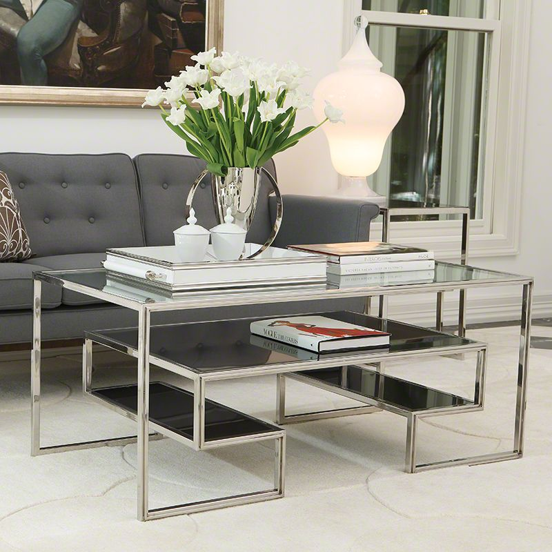 Global Views One Up Tail Table In Stainless Steel