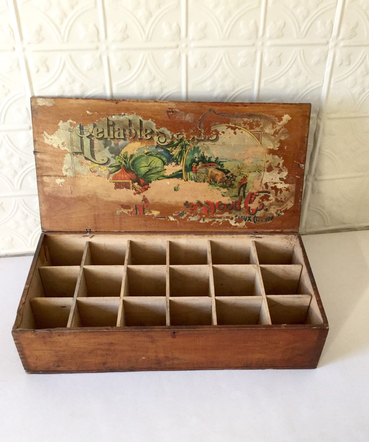 Antique Seed Box Sioux City Iowa Divided Wood Store Display by ...