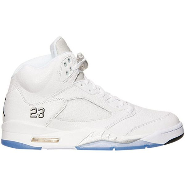 Air Jordan 5 Retro White/Metallic Silver-Black ❤ liked on Polyvore  featuring jordans