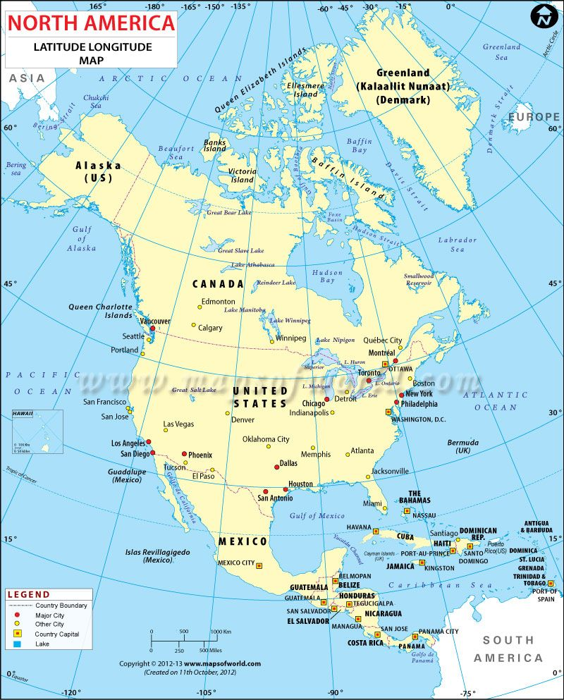 Latitude and Longitude Maps of North American Countries | teachery ...