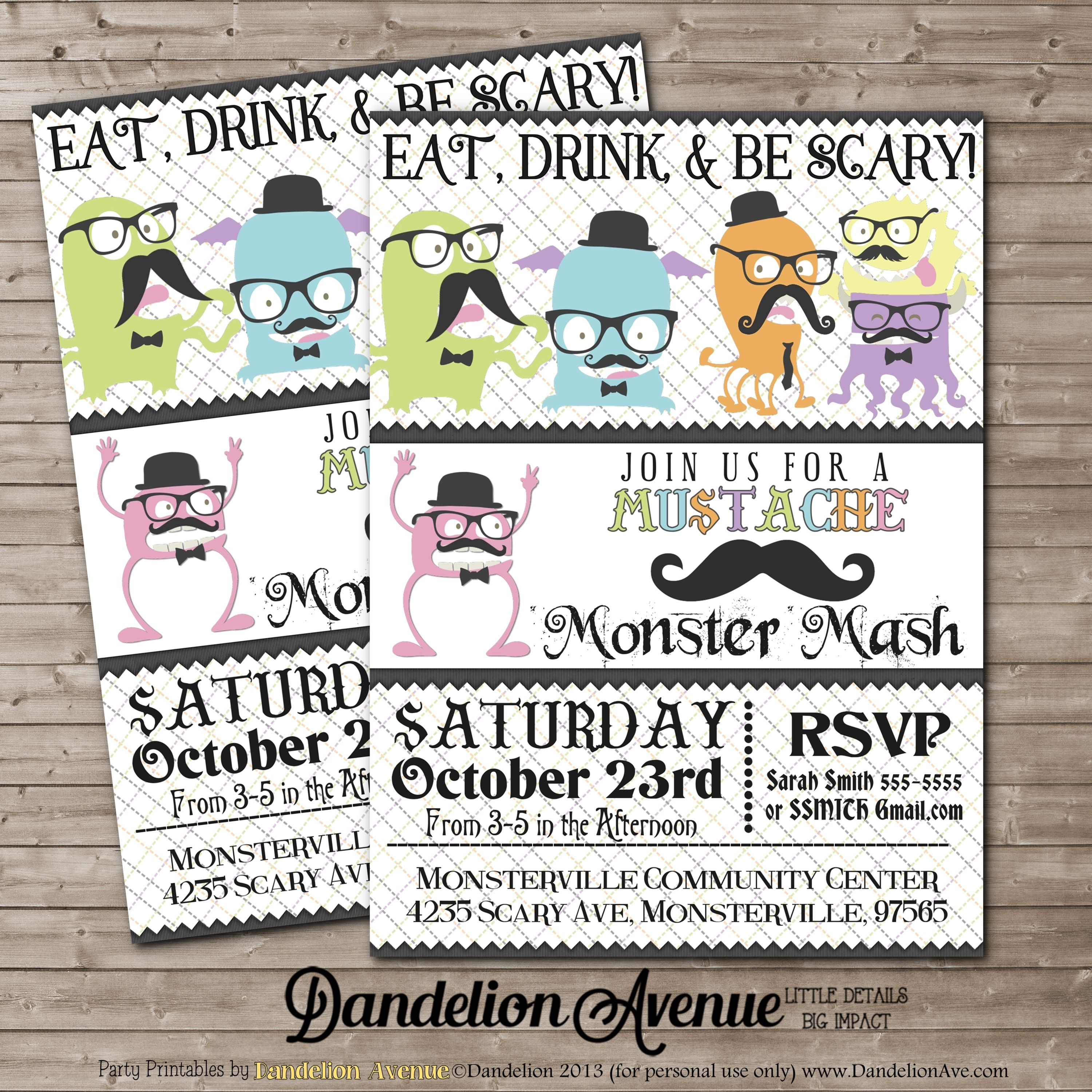 Halloween Hipster Monster Mustache Party Custom Halloween Party Invitation With