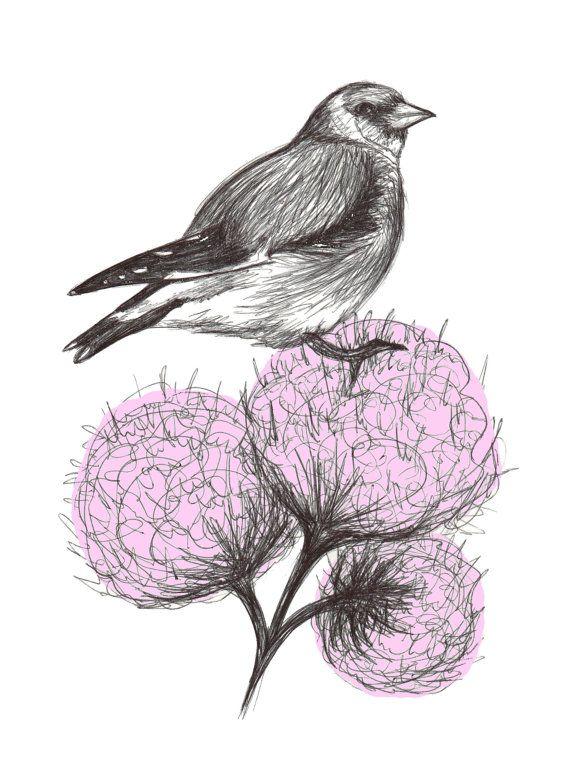 Art Print, Bird Art, Giclée Print, Wall Art, Bird Print, Bird Illustration, Bird Gift, Birds, Flowers, Floral, A6, 5x7, A5, 8x11, A4