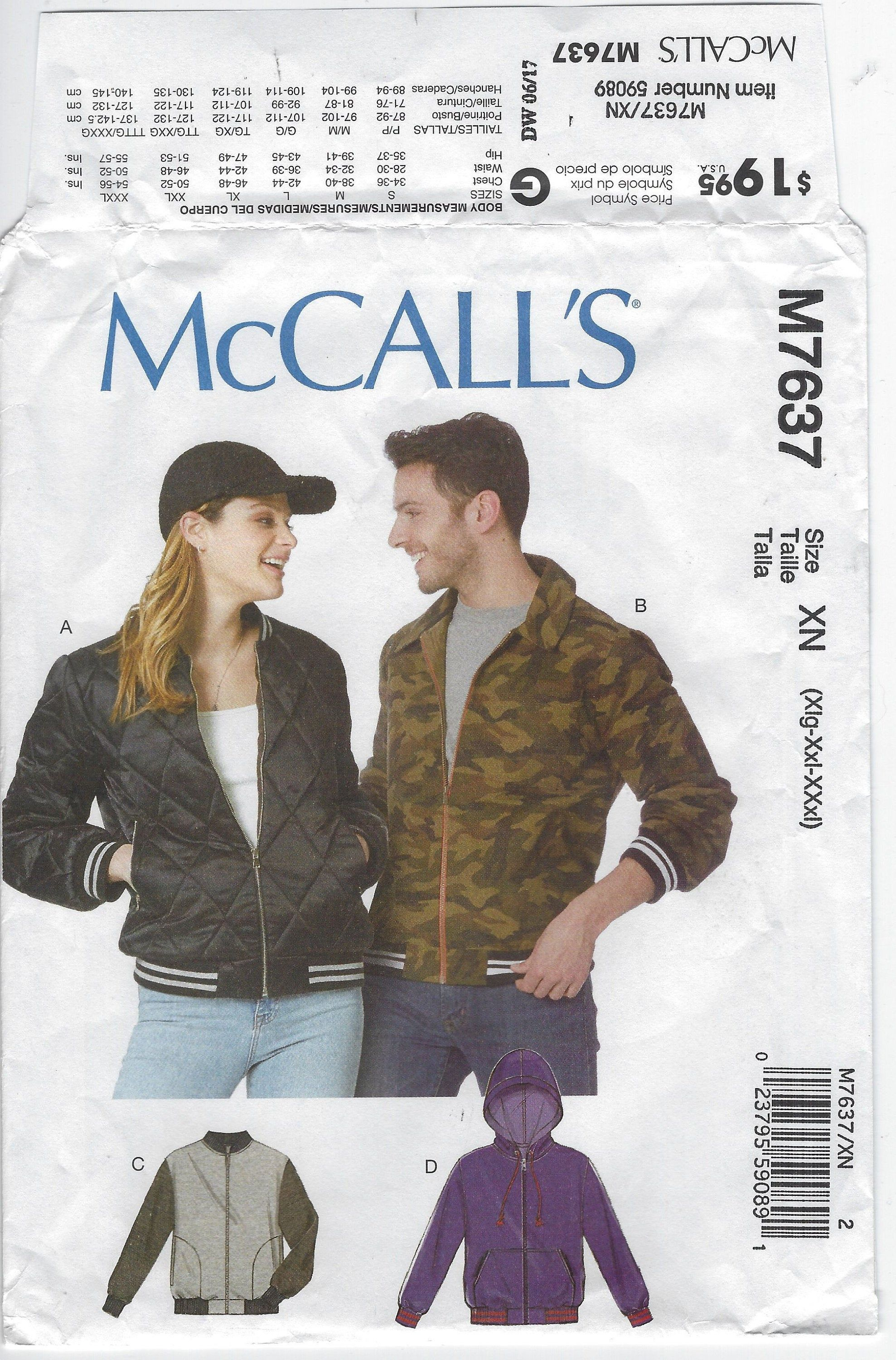 M7637 Mccall S Unisex Bomber Jackets W Separating Etsy Mens Sewing Patterns Bomber Jacket Mccalls [ 3000 x 1977 Pixel ]