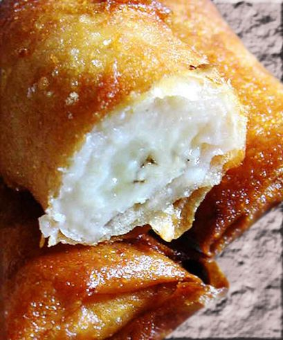 Chinese Banana Spring Rolls. Bananas rolled in spring roll pastry and deep…
