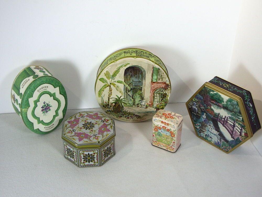 Biscuit Cookie Tins Vintage Set of 5 Godiva Applewood Flowers Brulator Patio