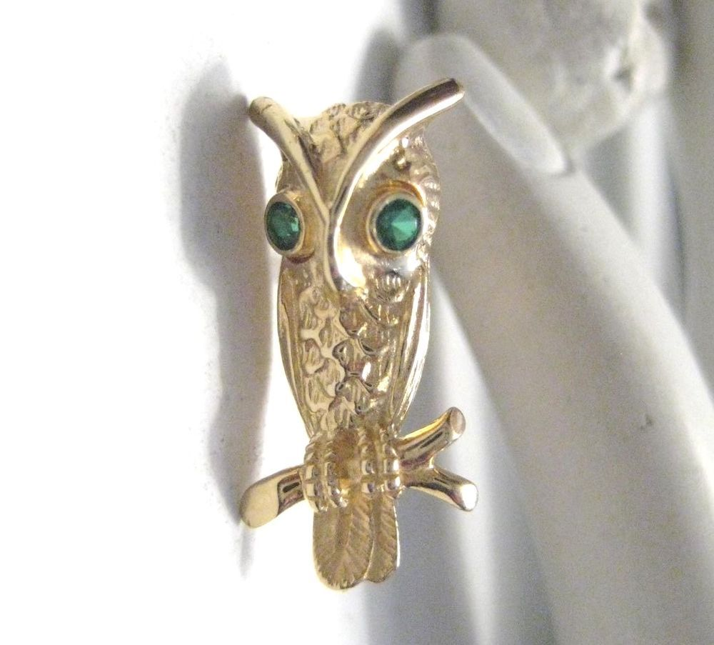 Adorable Vintage Owl Pin 14K Gold with Emerald Green Eyes  | Jewelry & Watches, Vintage & Antique Jewelry, Fine | eBay!