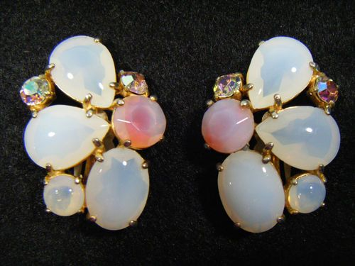 Vintage Original Elsa Schiaparelli Glass Round Teardrop Large Clip on Earrings | eBay