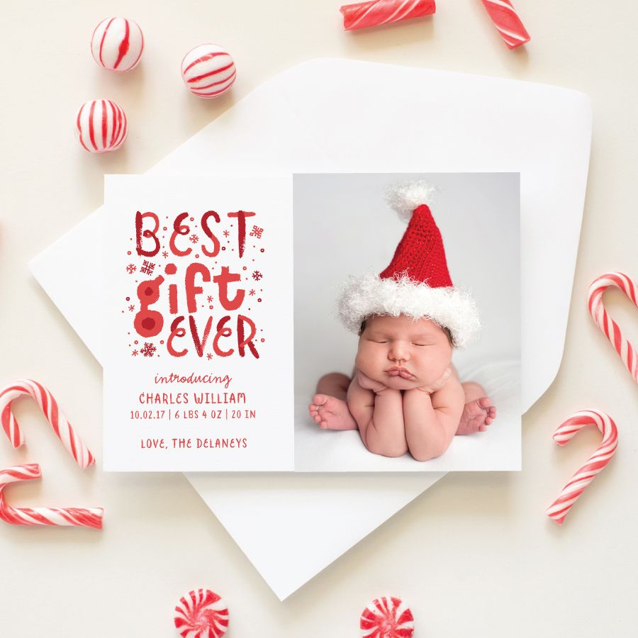 Best Gift Ever Christmas Birth Announcement Zazzle Com Baby Announcement Christmas Card Baby S First Christmas Card Christmas Birth Announcement